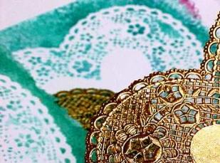 Paper doilies made to be used as liners on cake plates and cookie platters make great stencils for painting the illusion of lace. & Valentine Tips for painting valentines in watercolor