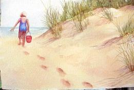 Watercolor tip for painting footprints in the sand